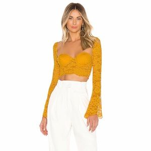 🔥NBD x Naven Twins Serena Crop Top in Yellow NWT